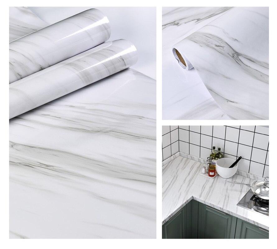 Marble Vinyl Film Self Adhesive Waterproof Cabinet Table Marble Pattern Kitchen Oil-proof  Furniture Renovation PVC Wallpaper pvc vinyl kitchen cabinet lh pv077