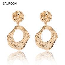 Salircon Fashion kolczyki wiszące w kolorze złota dla kobiet dziewczynki Chic geometryczny okrągły duży wiszący kolczyk Brincos oświadczenie Party biżuteria