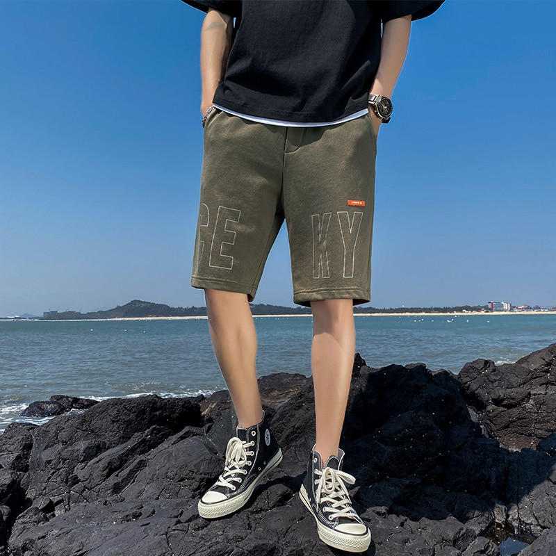 2021 Fashion Men's New Summer Thin Section Trend Loose Straight Casual Fashion Brand Sports Beach Five-Point Pants