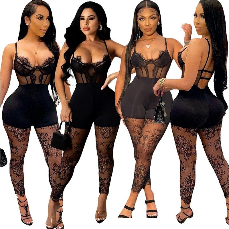 Кружевные прозрачные женские комбинезоны в стиле пэчворк, черный облегающий цельный комбинезон на бретелях-спагетти, летние сексуальные в...