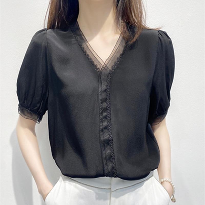 Women's summer Silk Shirt Short Sleeve Black Design Top
