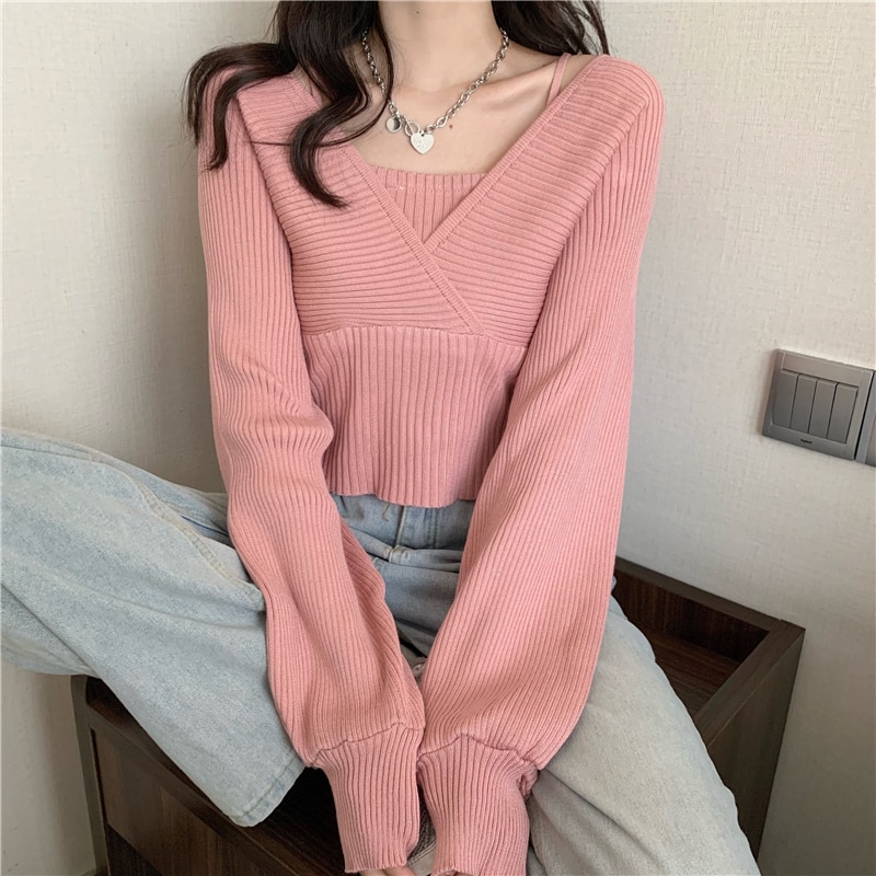 knitted checked tank top Fashion Short Crop Top Slim Slimming Solid Knitted Sweater Square Neck Casual Fake Two-Piece Thin Camisole Tank Top