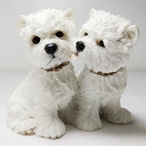 JJM 2 قطعة غرب المرتفعات الكلب الابيض الأزواج كلب الشكل الحيوان جامع لعبة PVC نموذج دمية EducationalToy ل ChildrenGift