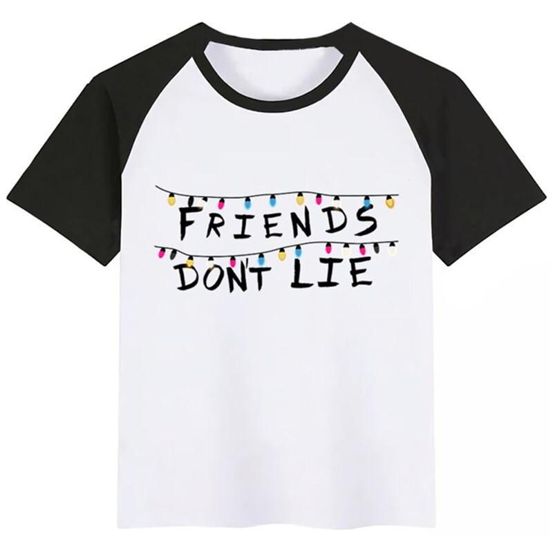 BoysGirls Stranger Things Friends Do Not Lie Cartoon Print T Shirt Kids Funny Clothes Children Summer Short Sleeve Baby friends don t lie stranger style pop culture things t shirt2019 new short sleeve men
