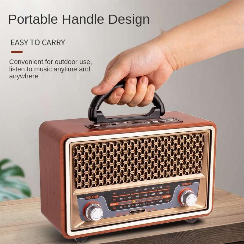 ريترو محمول خشبي راديو مشغل موسيقى AM/FM/SW متعدد الوظائف عالي الجودة سمّاعات بلوتوث مضخم صوت بطاقة الصوت caixadesom