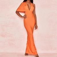 draped backless women side split evening party dress 2021 sexy v neck orange black long bandagedresses