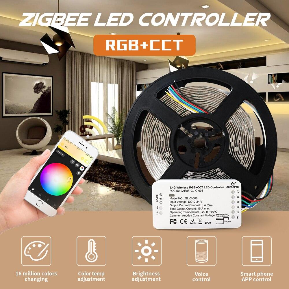 Tira de LED inteligente Zigbee3.0 ZLL DC24v y controlador rgb + cct ZIGBEE para RGB + CCT tira de luz impermeable funciona con Amazon echo plus