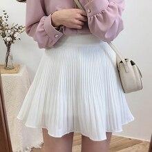 Pleated Skirt A-Line Mini Skirts Womens Summer Korean Style Black Woman Skirt Clothing White Jupe Femme Faldas Mujer Moda 2020