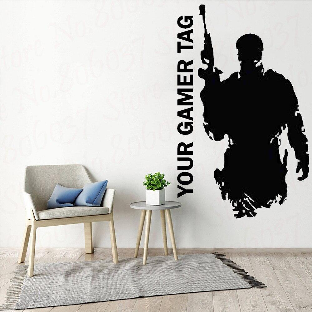 Jogo de vídeo personalizado gamer tag vinil adesivo sniper quarto decoração decalque para adolescentes decoração para casa wl1196