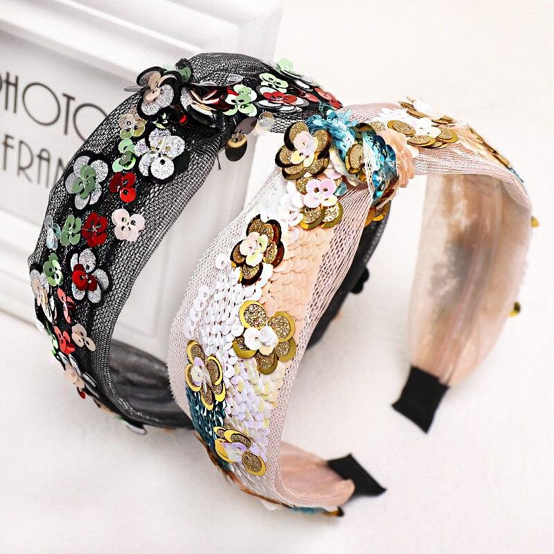 2020 New Spring Summer Women Glitter Sequins Flower Hairbands Wide Headband Girls Hair Hoop Turban Hair Accessories Headdress