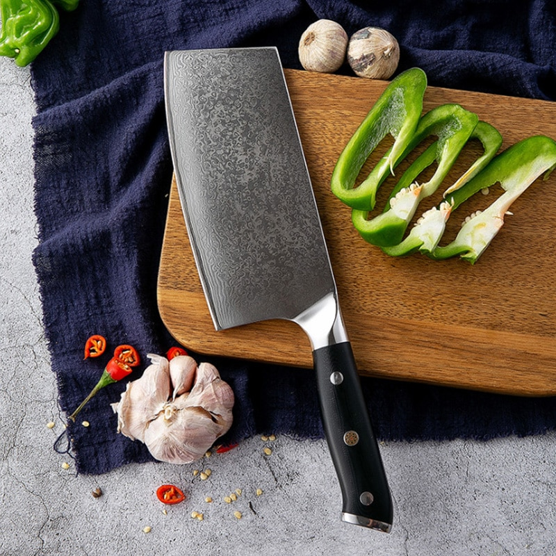 Chino cleaver Damasco cuchillos, cuchillos de cocina cuchillo profesionales Juego de cuchillos...