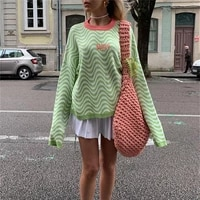 girls long sleeve knitwear autumn winter ladies stripes letter embroidery round collar casual loose sweater knitted tops