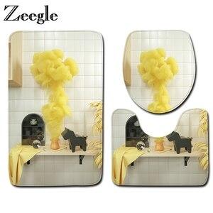 Zeegle 3 шт. коврики для ванной Красочные нескользящие Ванная комната Комплект ковриков для Ванная комната ковер стирающийся коврик для ванной...