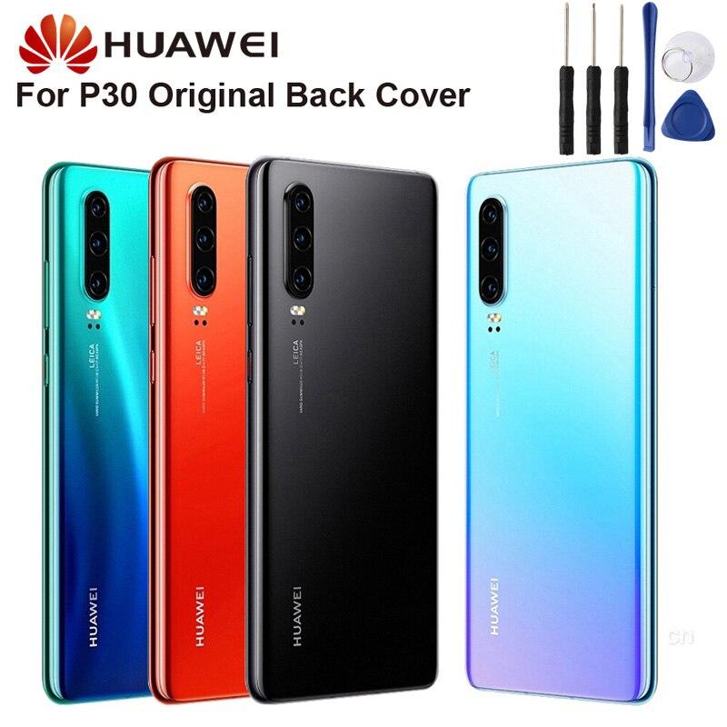 "Funda protectora trasera de cristal para Huawei P30 6,1 "", carcasa trasera para puerta, funda protectora para teléfono"