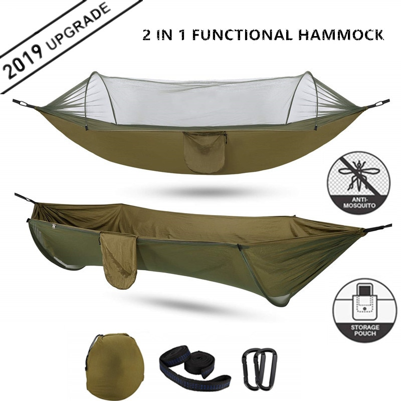 2021 Camping Hammock with Mosquito Net Pop-Up Light Portable Outdoor Parachute Hammocks Swing Sleeping Hammock Camping Stuff