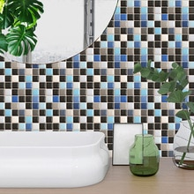 10pcs/set 10/15/20/30cm Mosaic Hard Tiles Wall Sticker Kitchen Bathroom Tables Floor Diagonal Decor Wallpaper Thicken Art Mural