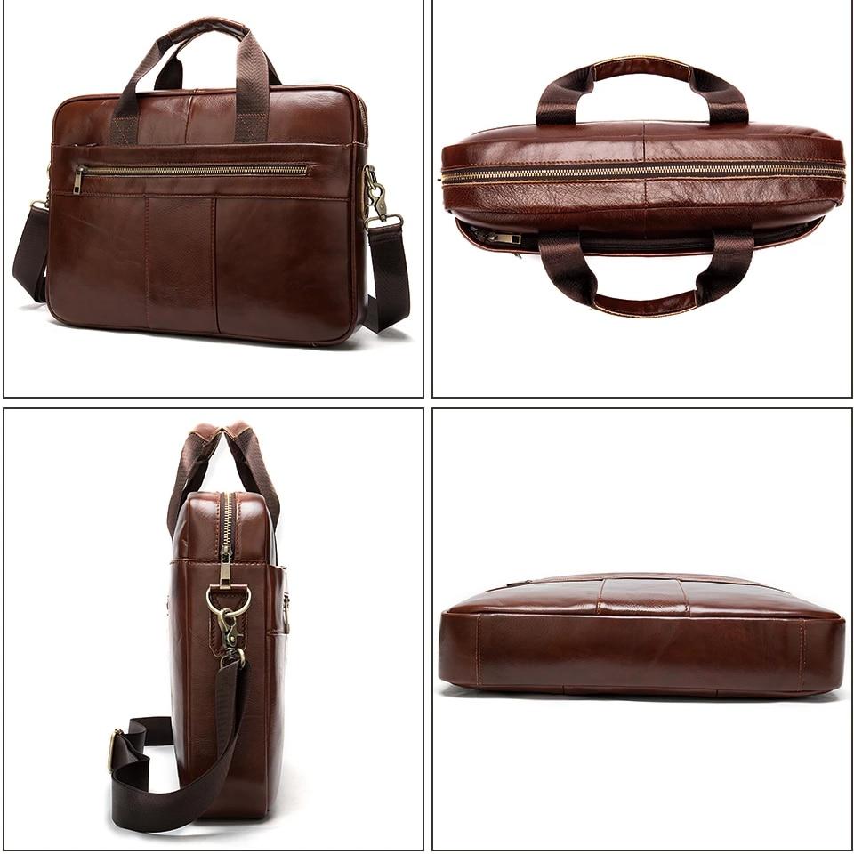 Genuine Leather Briefcase Handbag Shoulder Men Bag For Laptop Document A4 Messenger Crossbody Travel Male Business Tas Sac Bolso