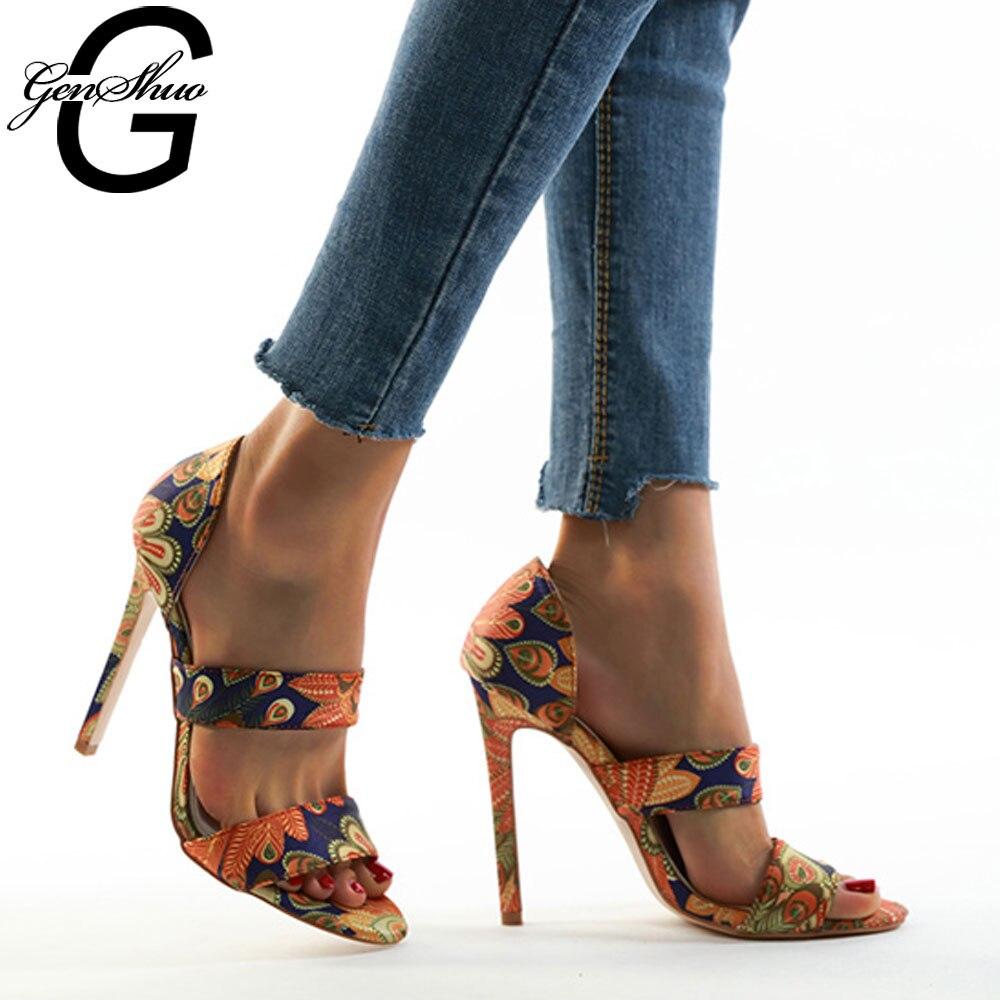 Sandalias de gladiador GENSHUO, Sandalias de tacón alto para mujer, zapatos de verano para mujer, sandalias bohemias con estampado Floral étnico, calzado para mujer