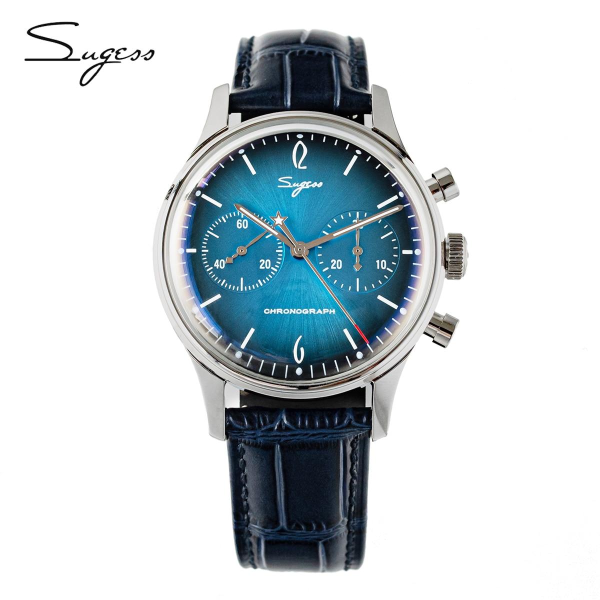 Sugess ساعة كرونوغراف الرجال الأزرق الهاتفي الطيار ساعة ميكانيكية كرونوغراف النورس حركة st1901 40 مللي متر ساعات رجالي 2021 الفاخرة