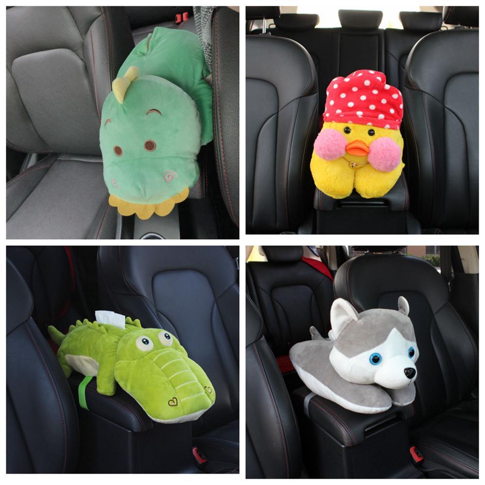 1 pieza 48cm de dibujos animados de dinosaurio de cocodrilo hipopótamo perro gato de felpa funda de toalla de papel silla montada en el vehículo soporte de tejido caja de peluche de juguete