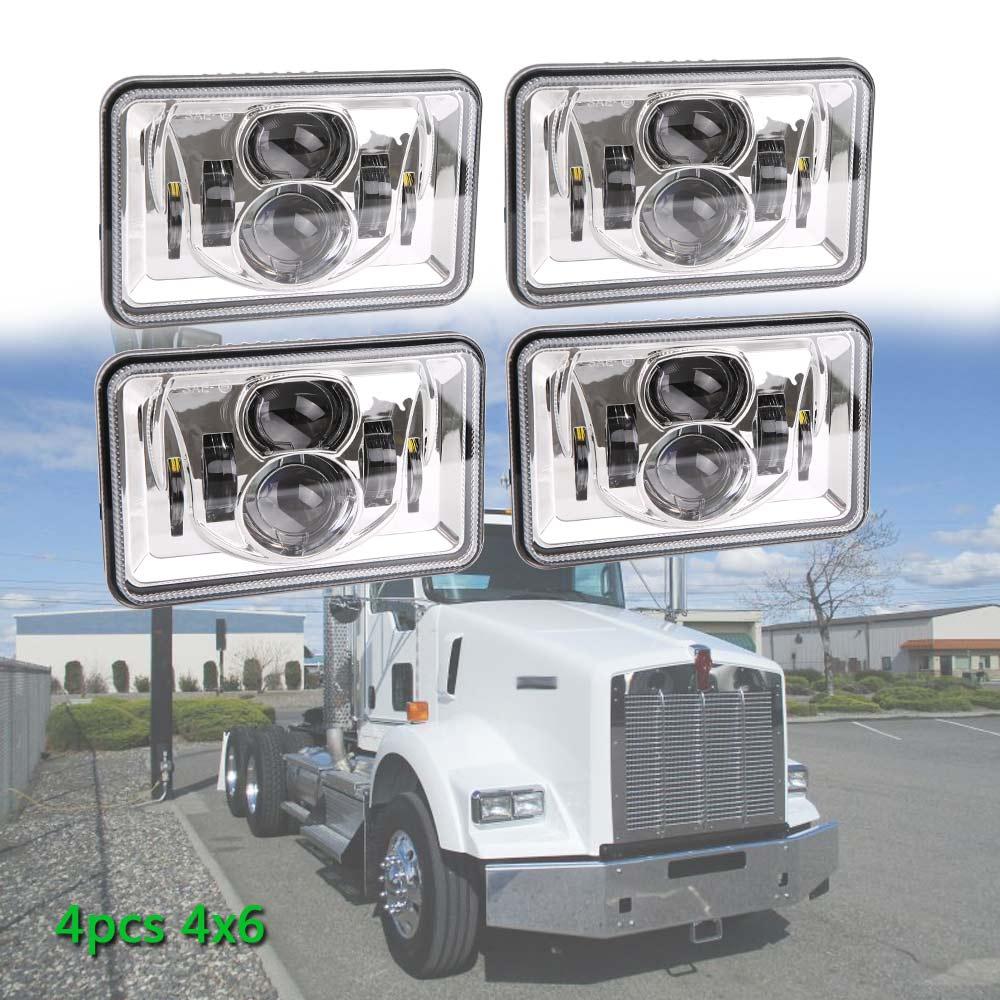4 Uds 60w Led lámparas rectangulares Auto reemplazo 4x6 bombillas de haz sellado para Chevy Camaro iroc-z H4 Led cuadrado de haz alto-bajo