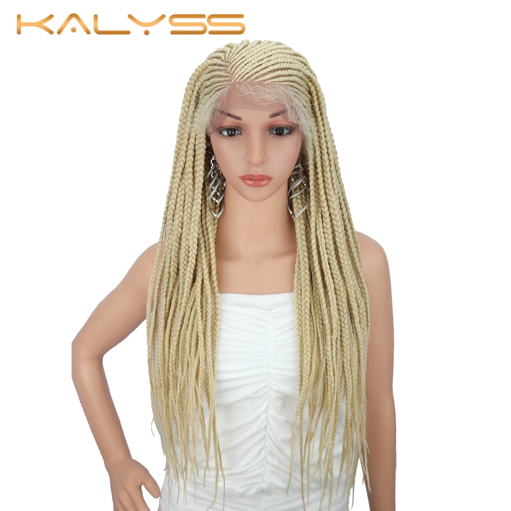 Kalyss 28 Inches 13x6 Braid Wig Synthetic Lace Front Wig for Black Women 613 Blonde Braided Wigs for Cosplay Wigs for Women
