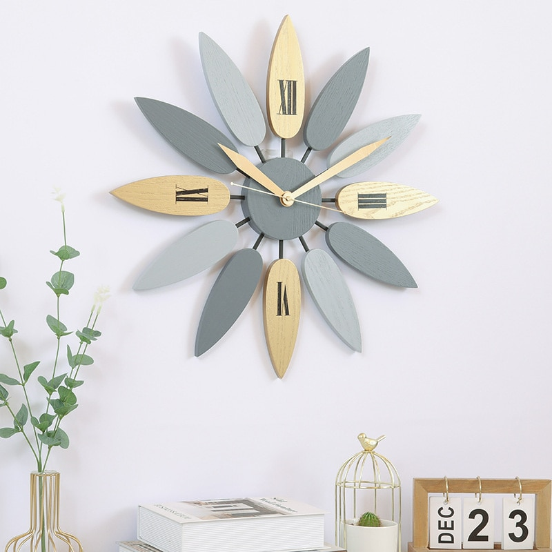 Home products solid wood creative ins quiet living room decoration light luxury North European wall clock