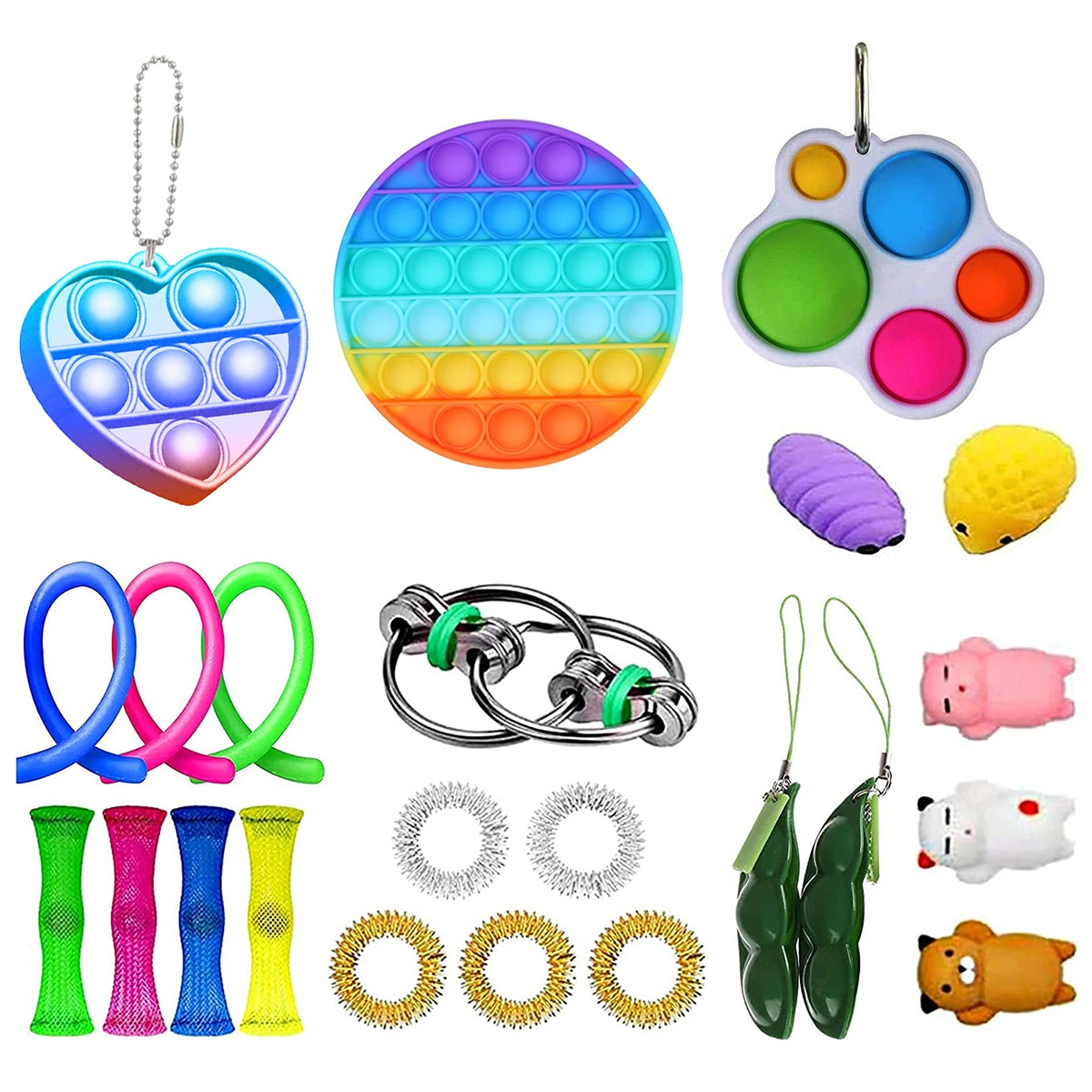 23PCS Fidget Sensory Toy Set Stress Relief Toys Autism Anxiety Relief Stress Pop Bubble Funny Toy For Kids Adults