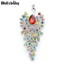 Wuli&baby Big Rhinestone Peacock Bird Brooches Women Beauty 3-color Bird Animal Weddings Party Offic