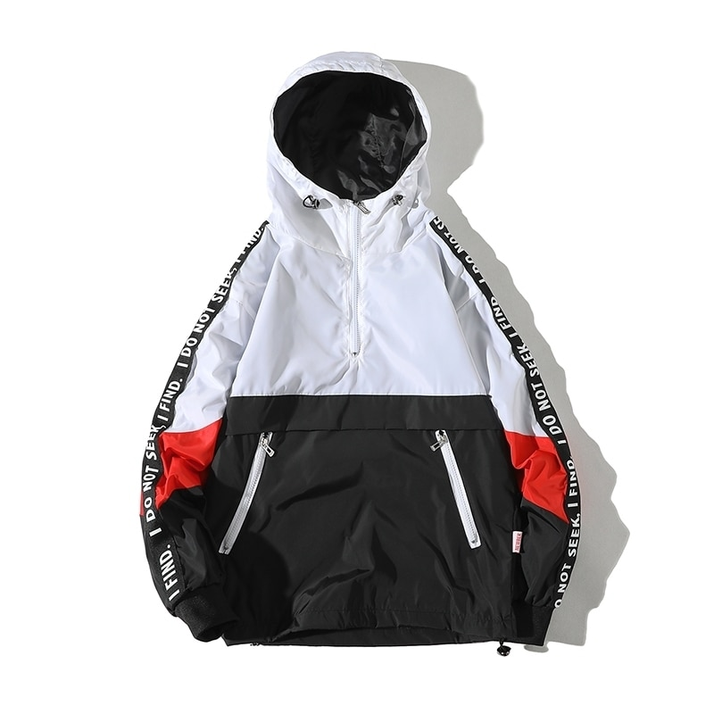 Hip Hop Mens Hooded Windbreaker Jacket Autumn 2021 Casual Vintage Color Block Loose Track Hoodie Jacket Coats Streetwear