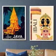 Peintures de toile de voyage bouddhisme   Autocollant mural revêtu, affiches Kraft murales Vintage, décoration de maison, cadeau photo de Surf à Bali