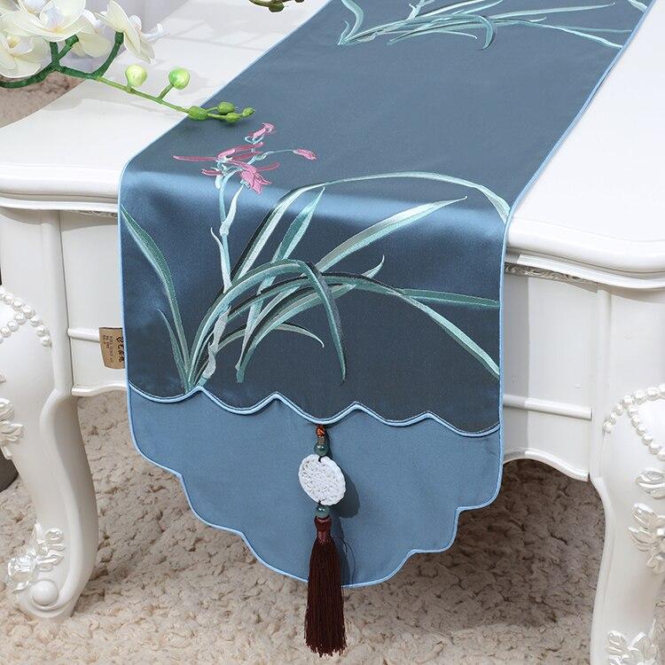 مفرش طاولة من الجاكار والعشب الأوركيد والدمشقي المخصص ، مفرش طاولة مستطيل من الحرير الصيني المزركش ، ديكور منزلي ، وسائد واقية