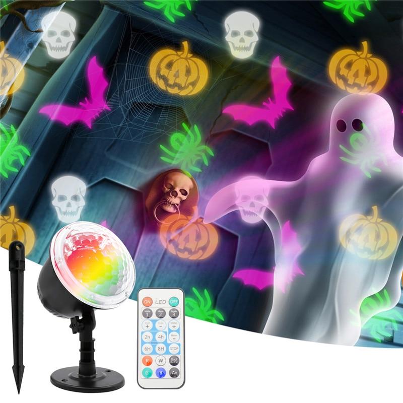 Lámpara LED de proyección rotativa con diseño de ola de mar, copo de nieve, impermeable, para exteriores, para Halloween, navidad
