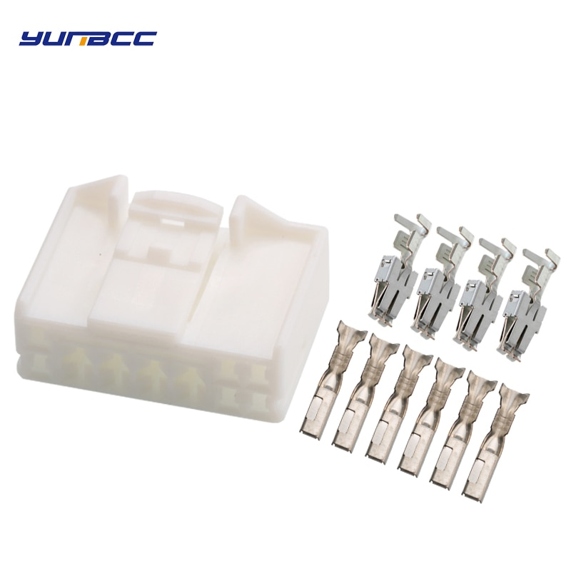 2Sets 10Pin AMP TE TYCO High Voltage Automotive Connector Rubber Shell Sheathed Female Socket Plug With Terminal 936363-1