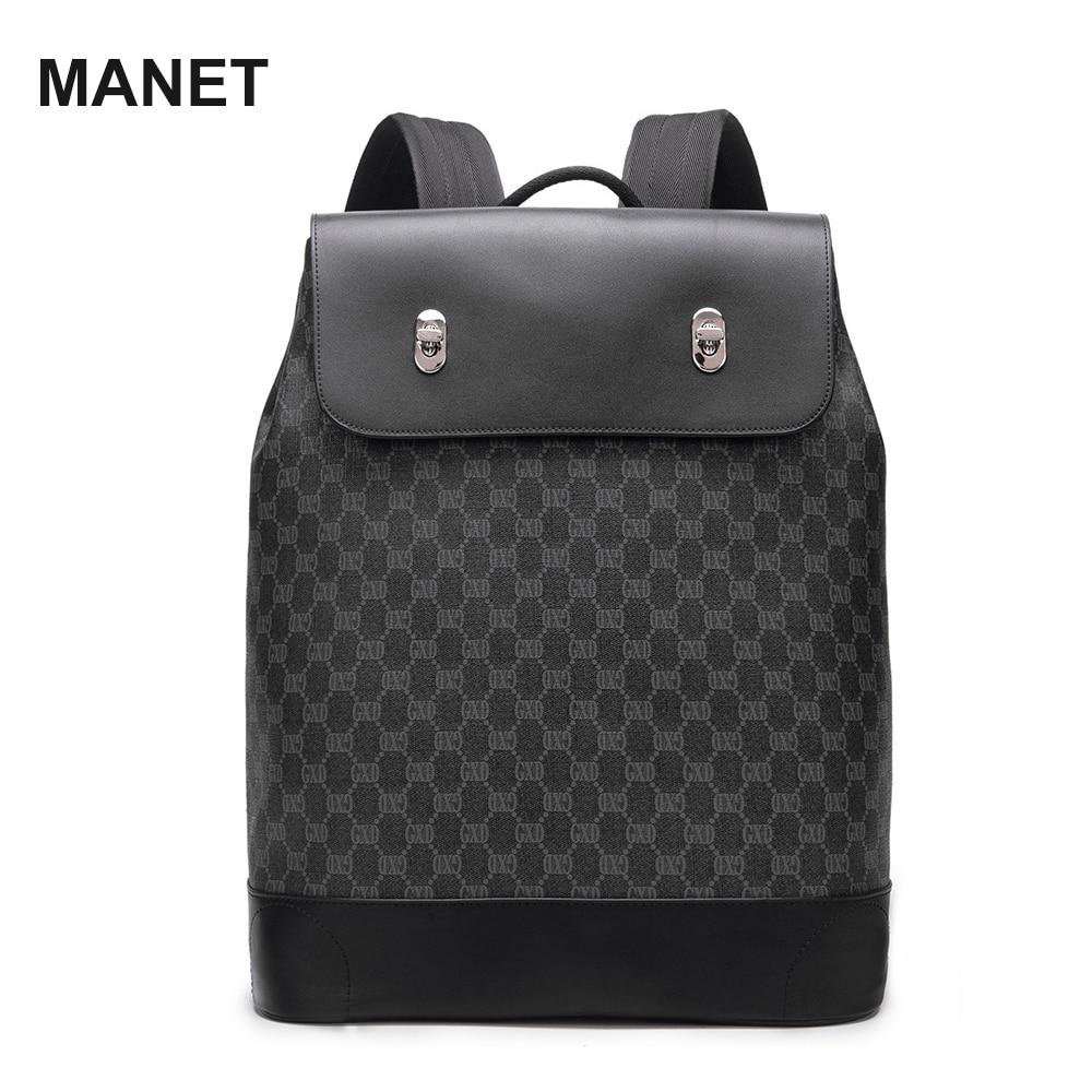 Роскошный рюкзак MANET для ноутбука 21 дюйм, вместительная дизайнерская сумка для мужчин, дорожные сумки, кожаный сетчатый мужской рюкзак, Прям...