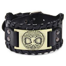Bracelets en cuir Vintage arbre de vie avec breloque en métal Antique Bronze Vikings bracelet à breloques