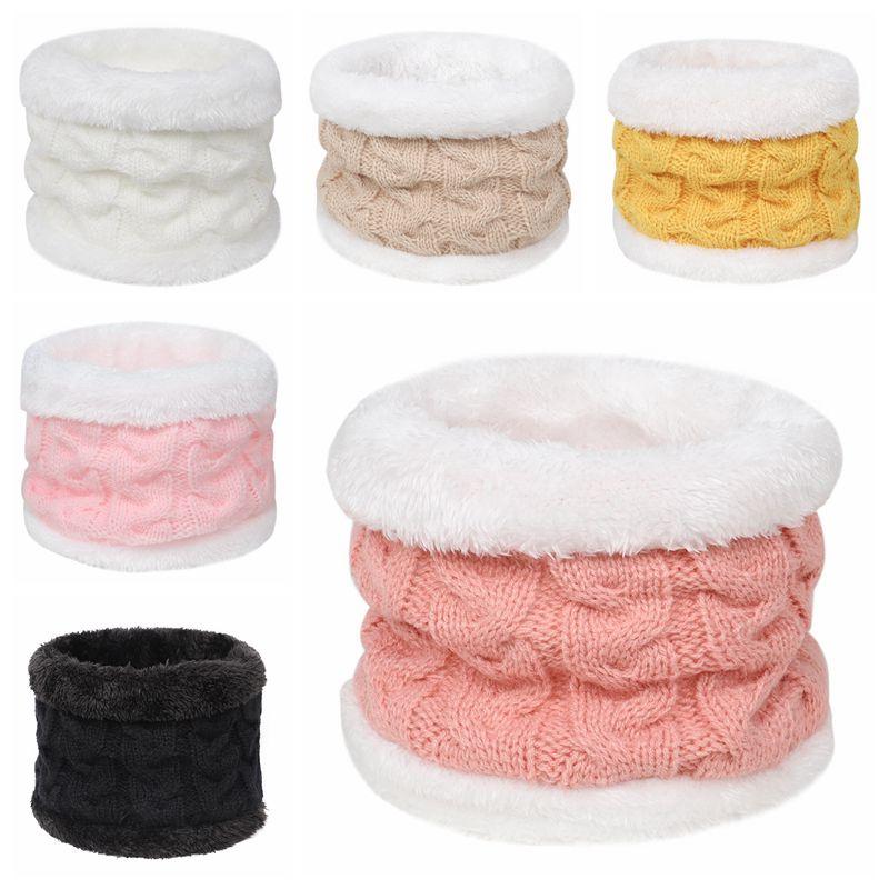 Baby Scarf Autumn Winter Children Plush Knitted Scarves Thicken Warm O Ring Scarf Boys Girls Neck Wa