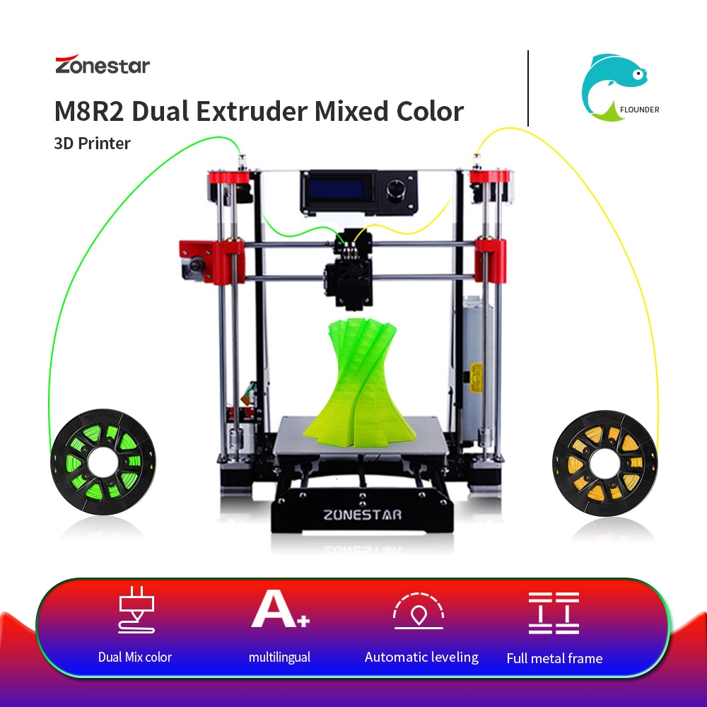 ZONESTAR M8 doble extrusora mezcla de Color gran oferta barato negro completo P802 Metal clásico i3 código abierto RepRap 3D impresora DIY Kit