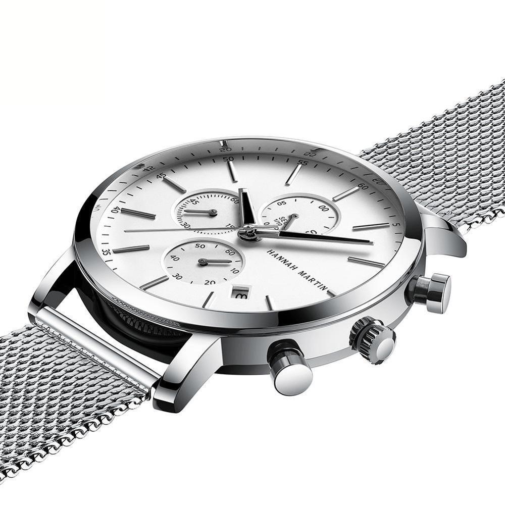 هانا مارتن ساعة رجالي متعددة الوظائف التاريخ مقاوم للماء الفولاذ المقاوم للصدأ كوارتز ساعة اليد الذكور ساعة relogio masculino 2020