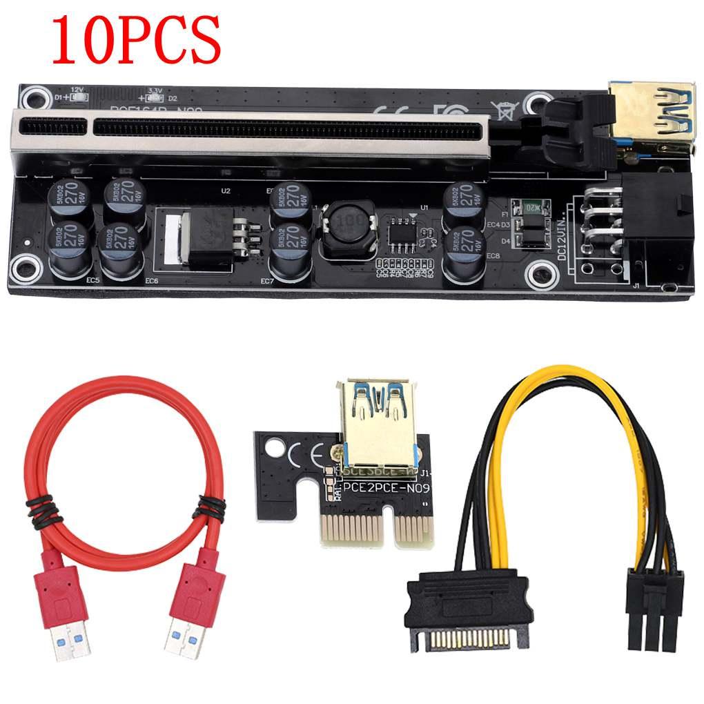 Pces Plus Pci-e Pcie Riser 009s 6pin Pci Express Adaptador Cartão Molex Usb 3.0 Cabo 1x 16x Extensor 10 Ver009s