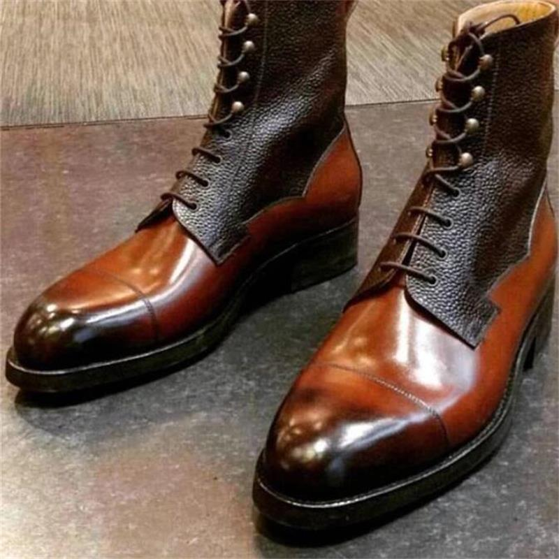 Men Pu Leather Shoes Low Heel Casual Shoes Dress Shoes Brogue Shoes Spring Ankle Boots Vintage Class
