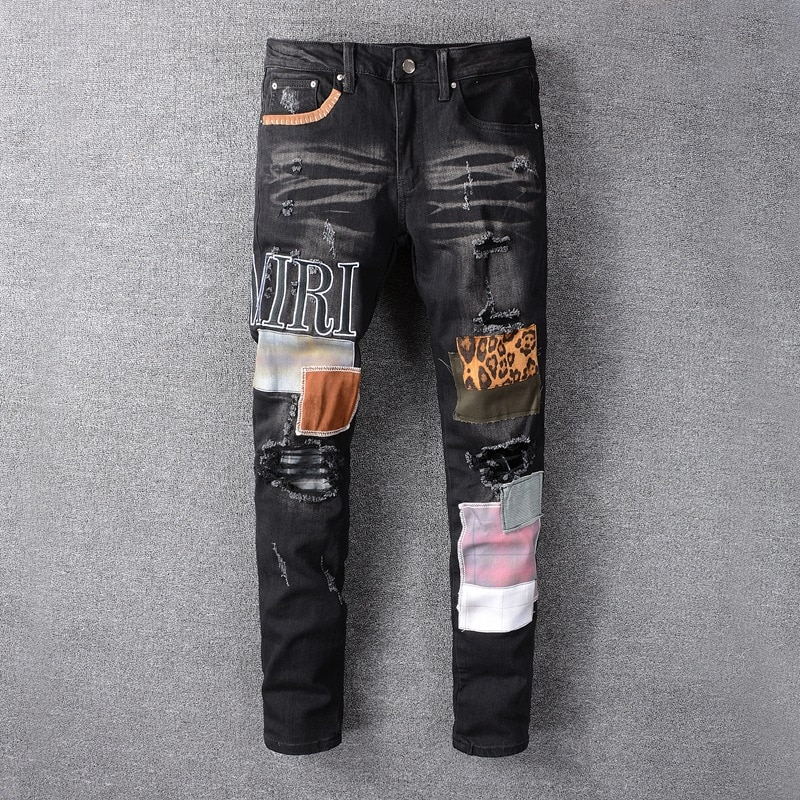 Hip Hop Jeans Men High Street Fashion Brand New Black Patch Embroidery Stretch Slim Fit  Mens Summer