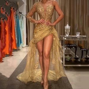 Sexy Evening Dresses Slide Split Beading Pleat V-Neck One-Shoulder Zipper A-Line Gowns Novia Do 2021 New Party