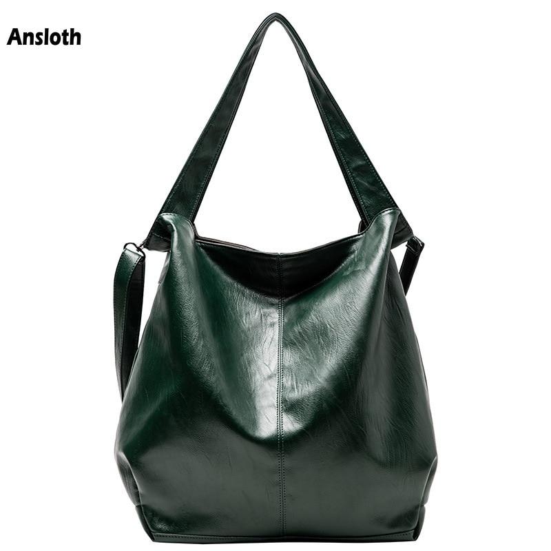 Ansloth Soft Leather Handbags Luxury Big Women Bags Large Capacity Hand Bag For Female Tote Bag Brand Casual Shoulder Bag HPS884
