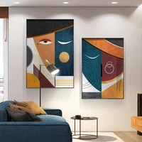 modern abstract geometric figure canvas painting nordic art poster faces wall art picture for living room aesthetic room decor