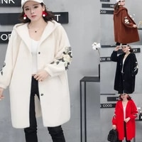women autumn winter long sleeves hooded knitted cardigan single breasted solid color embroidered coat mid length loose overcoat