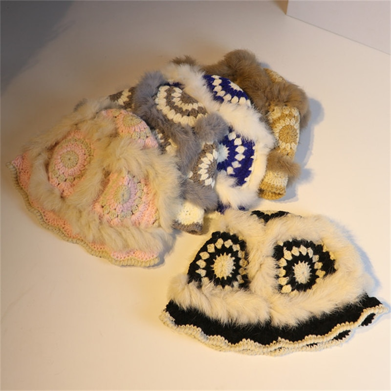 Hat female 2021 fall/winter new cute rabbit fur hat thick earmuffs travel knitted wool Lei Feng hat