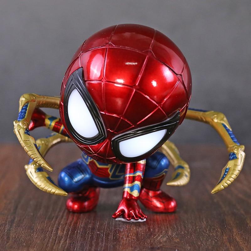 Vengadores Infinity War hierro hombre araña Cosbaby Bobble cabeza con LED de luz de juguete