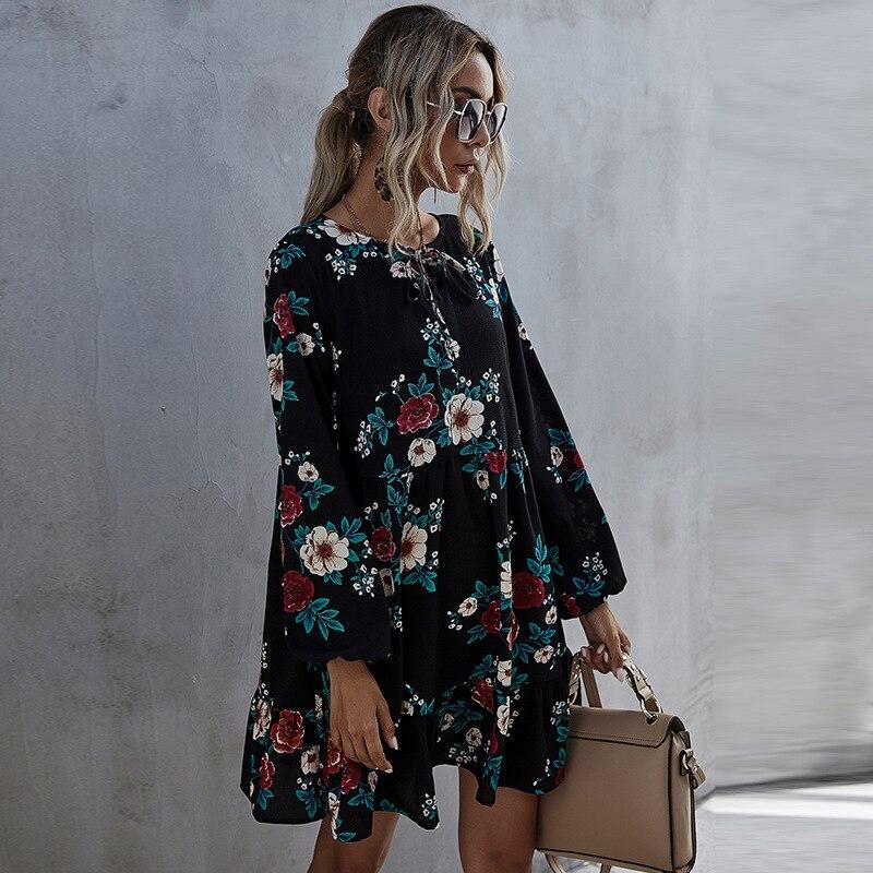 aliexpress - 2021 New Autumn Winter Ruffles Print Dress Women O-neck Full Sleeve High Waist Floral Dress Female Casual Black
