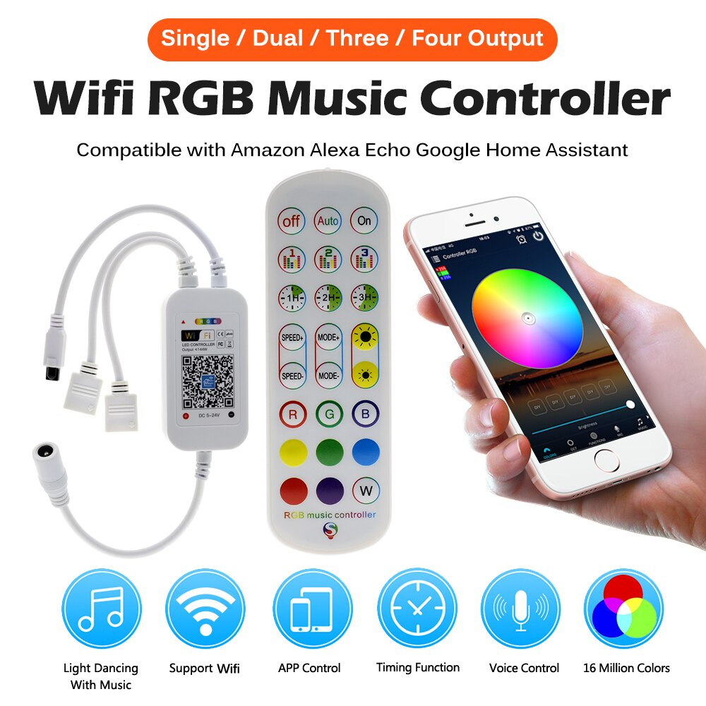 Magic Home DC5V-24V LED RGB Controller Wifi Music Controller Double/Three/Four Output 24key Remote T